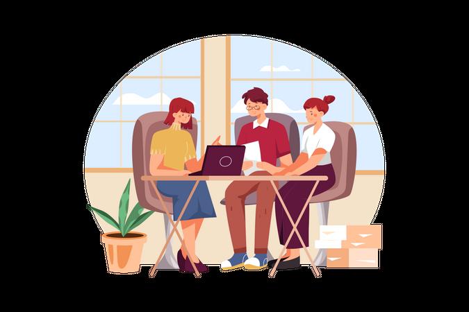 Business people working together Illustration