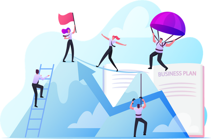 Business People Working Together for Goal Achievement Illustration