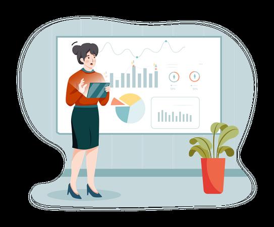 Business person analyzing data Illustration