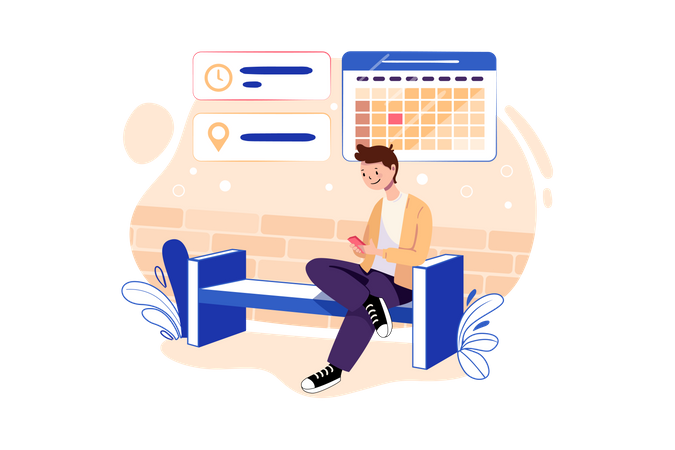 Business person checking his schedule Illustration