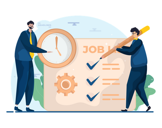 Business person checking task list Illustration