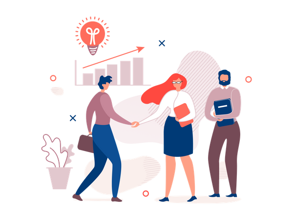 Business person communicating in the office Illustration
