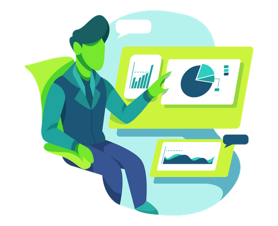 Business person doing Data Research Illustration