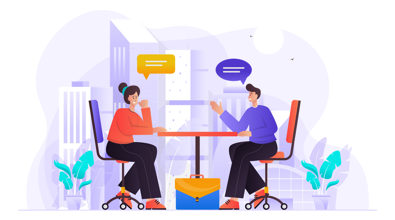 Business Person Doing Discussion Illustration