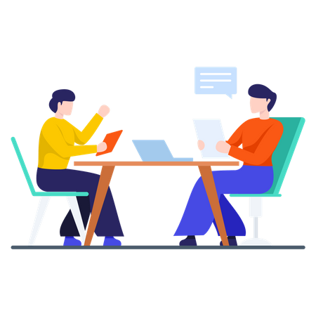 Business person doing meeting Illustration
