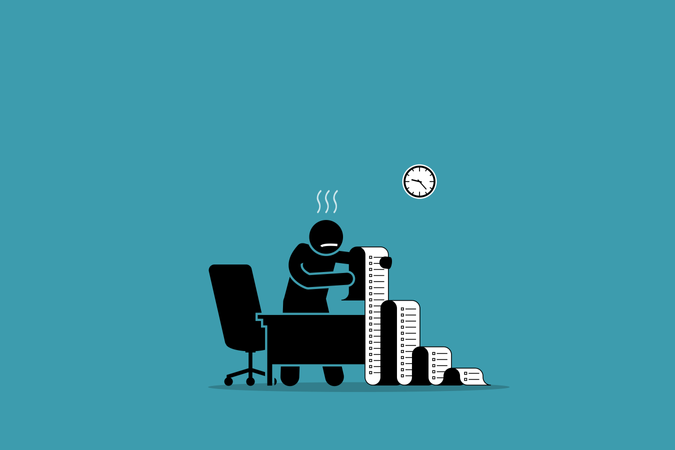 Business person holding a long paper with to do list in the office Illustration
