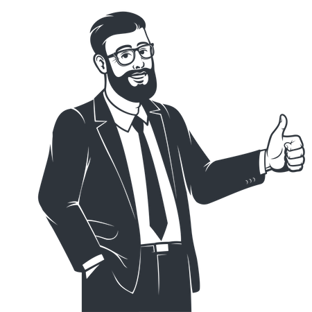 Business person in suit showing thumbs up Illustration