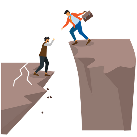 Business person lend a hand to helping partner up to success Illustration