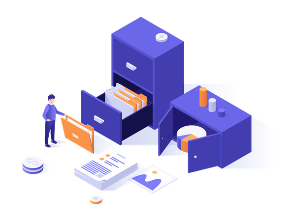 Business person organizing papers Illustration