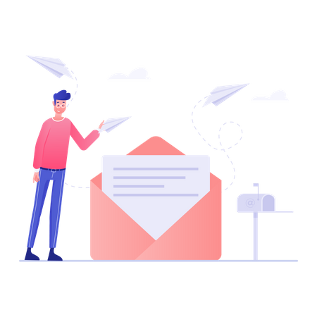 Business Person Sending Mail Illustration