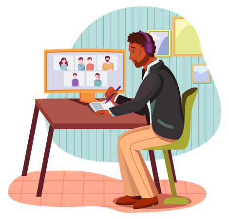 Business person taking notes in video meeting Illustration