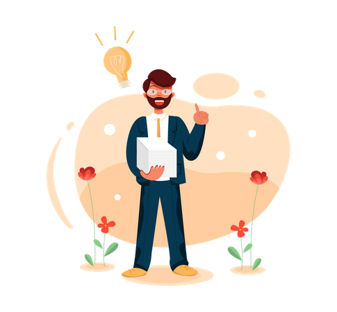 Business person with creative idea Illustration