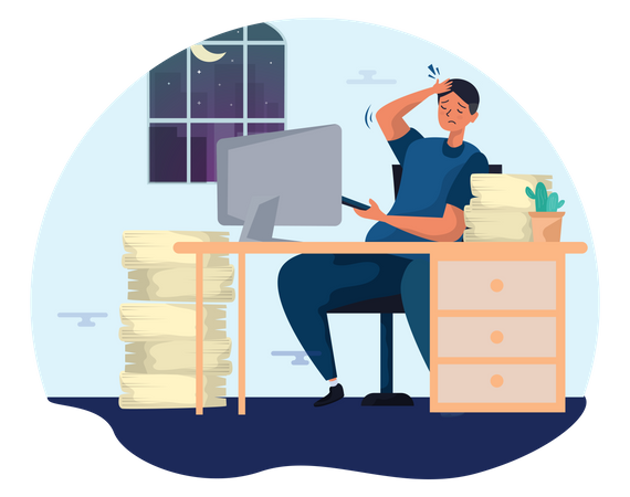 Business person working late in the office Illustration
