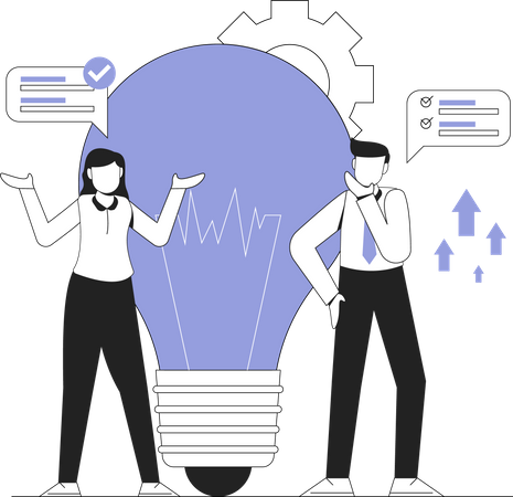 Business person working on business idea Illustration