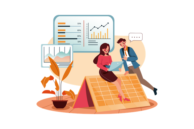 Business persons discussing marketing analysis Illustration