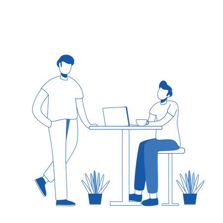 Business persons discussing on business startup Illustration