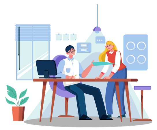 Business persons doing discussion Illustration