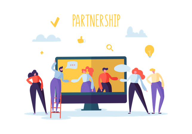 Business persons doing online meeting with partners Illustration