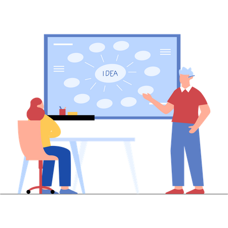 Business persons working on startup idea Illustration