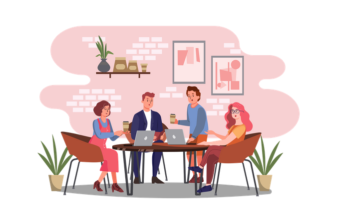 Business persons working while sitting in cafe Illustration
