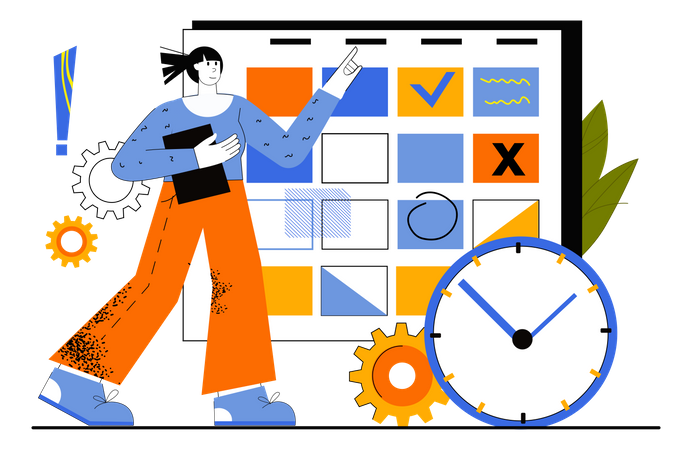 Business Planning By Manager Illustration