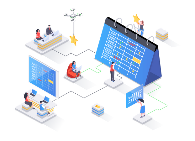 Business planning, organizing work activities and tasks Illustration