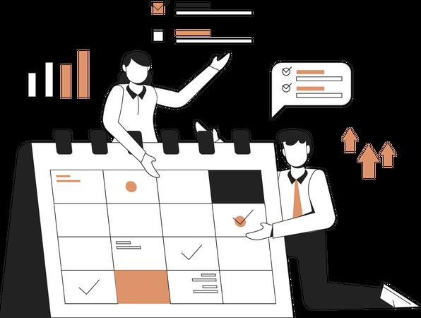 Business planning schedule Illustration