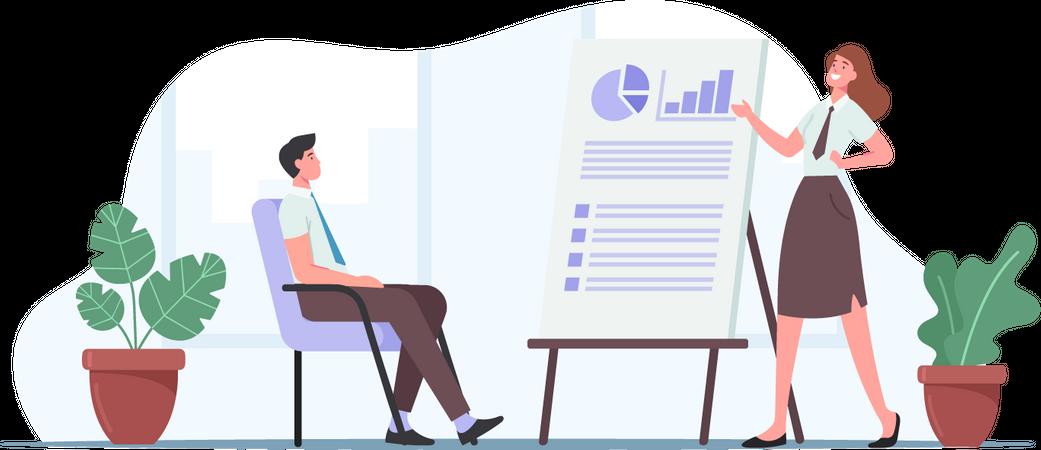 Business Presentation in Office Illustration