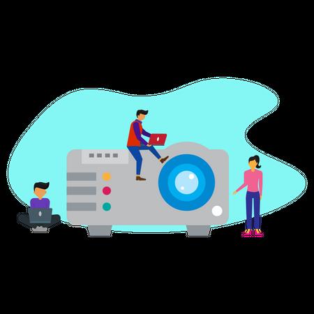 Business presentation on projector Illustration