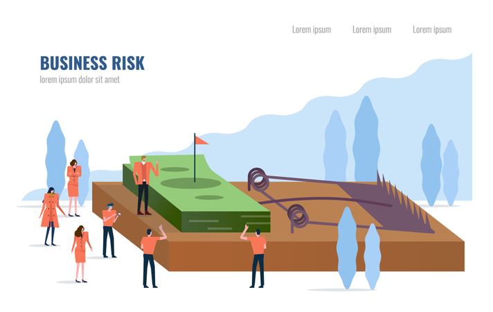 Business risk concept, People stand around money on a mouse trap. Illustration