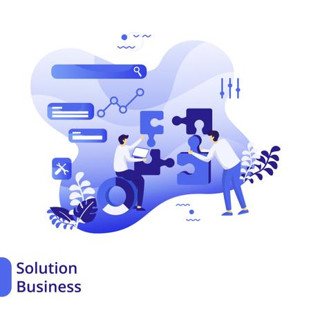 Business Solution Flat Illustration Illustration