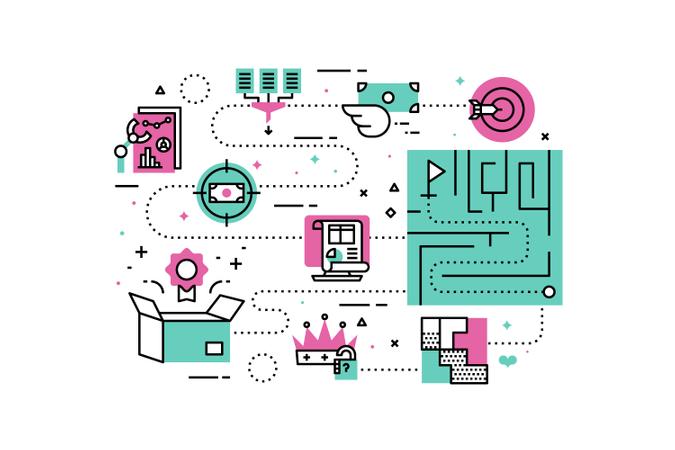 Business Solutions line icons illustration Illustration