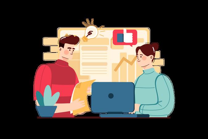 Business Start-up employees Illustration