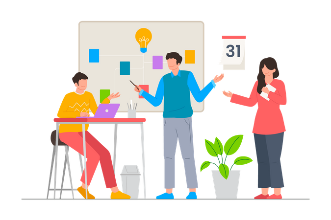 Business startup meeting with the team member at office Illustration