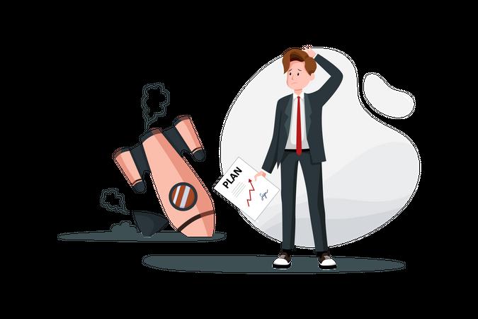 Business startup plan failure Illustration