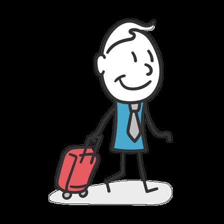 Business stick man traveling Illustration