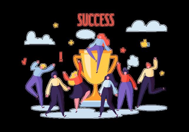 Business team achieved success Illustration