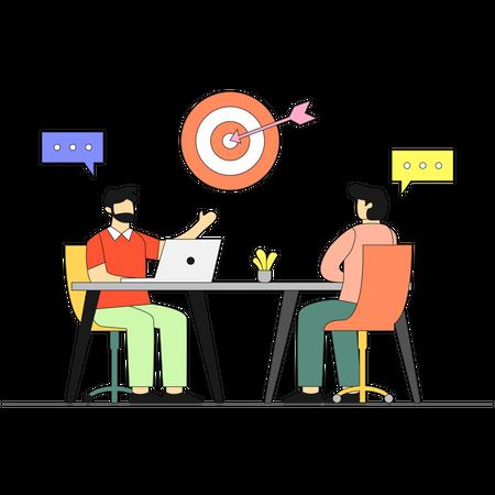 Business team achieving goal Illustration