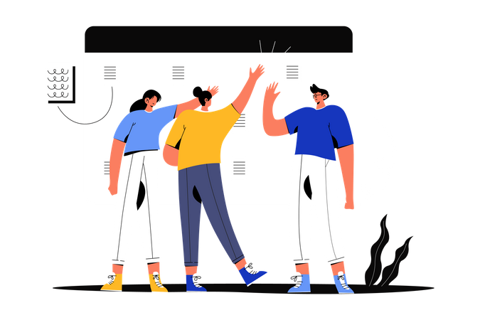Business team analyzing data Illustration