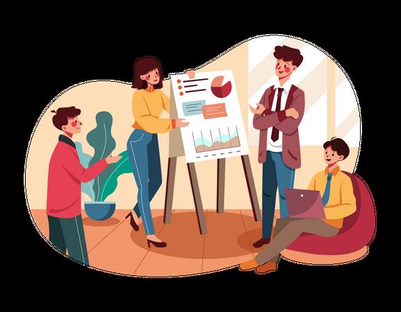 Business Team analyzing marketing data Illustration