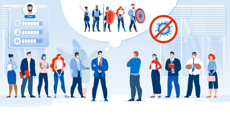 Business Team, Battle after Covid19 Pandemic Illustration
