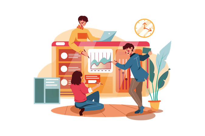 Business team developing website Illustration