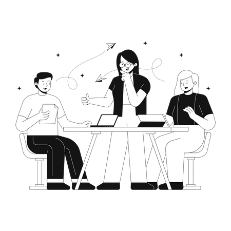 Business team discussing about new strategy Illustration