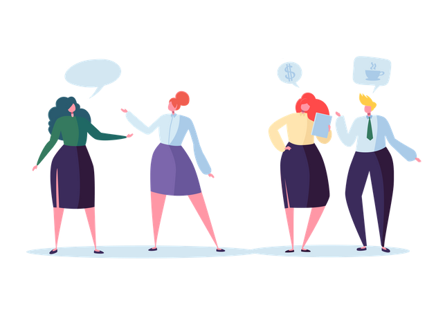 Business team discussing about work Illustration
