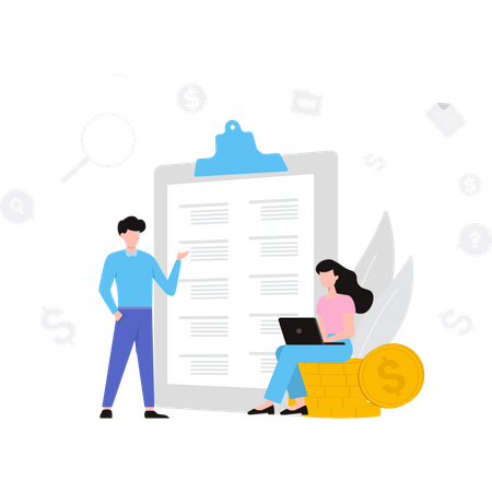 Business team discussing business strategy Illustration