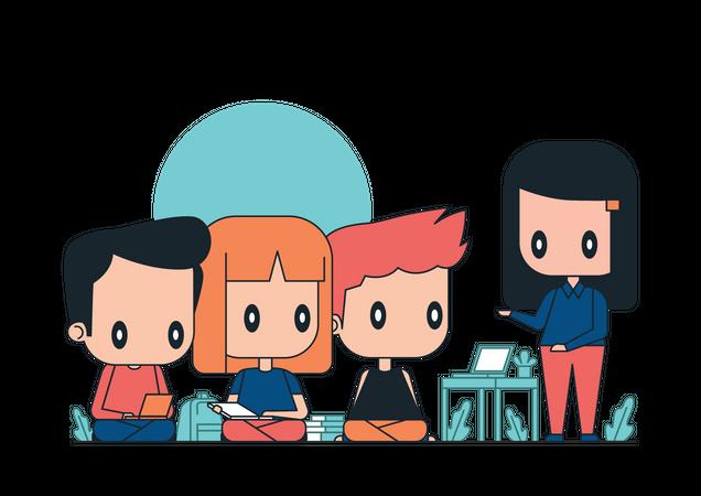 Business team discussing startup idea Illustration