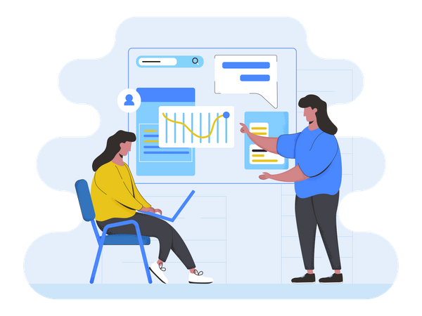 Business team discussing strategy Illustration