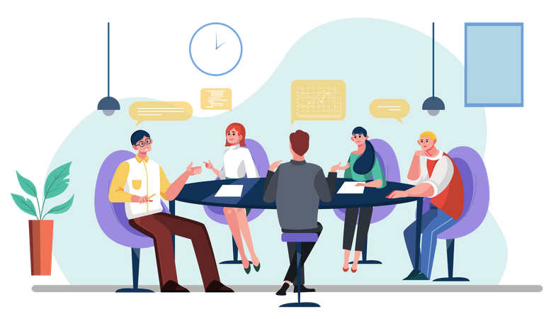 Business team doing business meeting Illustration
