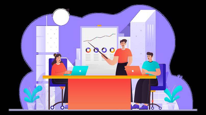 Business Team Doing Conversation Illustration