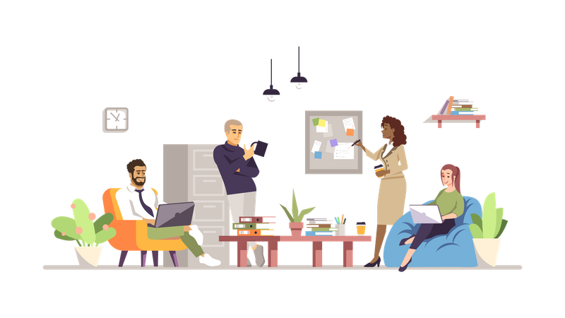 Business Team Doing Project Discussion Illustration